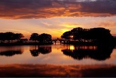 Coucher du soleil aux côtés extérieurs, la Caroline du Nord Image stock