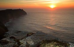 Coucher du soleil aux falaises de Moher Photo stock