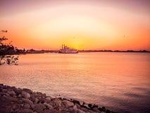 Coucher du soleil aux jardins déprimés, Galveston Images libres de droits