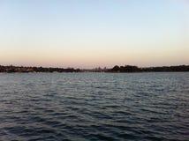 Coucher du soleil aux lacs Image libre de droits