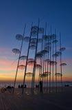 Coucher du soleil aux parapluies Salonique Photos libres de droits