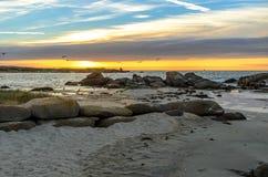 Coucher du soleil avec des mouettes sur la plage en Bretagne Images libres de droits