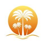 Coucher du soleil avec des palmiers Photo stock