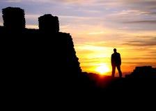 Coucher du soleil avec le château Photo stock