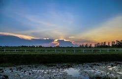 Coucher du soleil avec le champ vert Image libre de droits