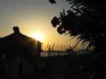 Coucher du soleil avec le pavillon et les fleurs Images libres de droits