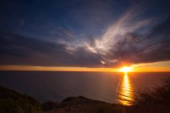Coucher du soleil Big Sur la Californie photos libres de droits