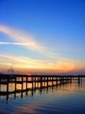 Coucher du soleil bleu grand   Photographie stock