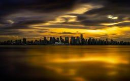 Coucher du soleil brûlant de Vancouver Images libres de droits