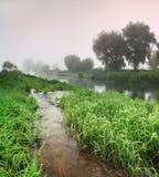 Coucher du soleil brumeux sur la rivière Photographie stock
