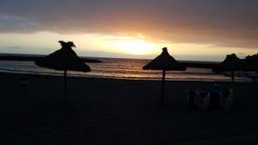 Coucher du soleil canarien de plage photo libre de droits