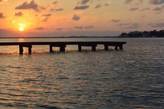 Coucher du soleil Cancun Photographie stock libre de droits