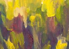 Coucher du soleil chaud à l'arrière-plan artistique de peinture de montagnes Photos libres de droits