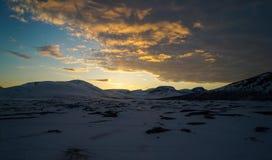 Coucher du soleil chez Altevann Photographie stock