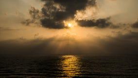 Coucher du soleil chez Apollonia Beach Photo libre de droits