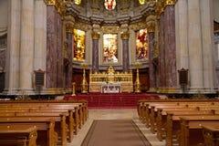 Coucher du soleil chez Berlin Cathedral Image libre de droits