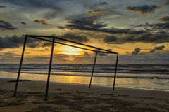 Coucher du soleil chez Dalit Beach Photographie stock