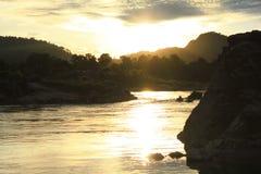 Coucher du soleil chez Don Khone Photos stock