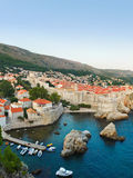 Coucher du soleil chez Dubrovnik, Croatie Photo libre de droits
