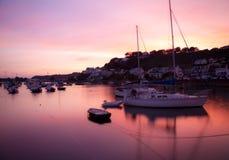 Coucher du soleil chez Gorey, Jersey Photos libres de droits