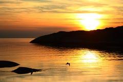 Coucher du soleil chez Hönö KlÃ¥va, Suède Images stock