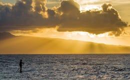 Coucher du soleil chez Hookipa, Maui photos stock