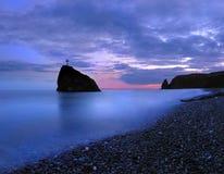 Coucher du soleil chez la Mer Noire Photographie stock