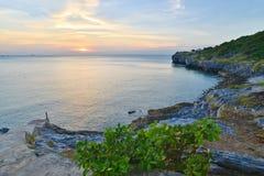 Coucher du soleil chez Laem Vashiravu Photo stock