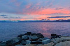 Coucher du soleil chez le lac Tahoe Photos libres de droits
