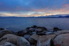 Coucher du soleil chez le lac Tahoe Images libres de droits
