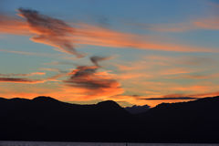 Coucher du soleil chez le lac Tahoe Photographie stock