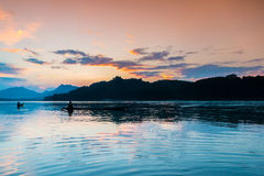 Coucher du soleil chez le Mekong, Laos Photographie stock