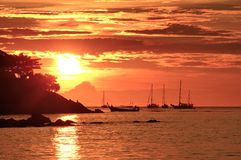 Coucher du soleil chez Lipe, Thaïlande Image libre de droits