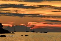 Coucher du soleil chez Lipe, Thaïlande Photographie stock libre de droits