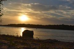 Coucher du soleil chez Marina Park à la valeur de lac à Fort Worth le Texas Photographie stock libre de droits