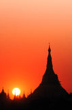 Coucher du soleil chez Myanmar Image libre de droits