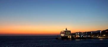 Coucher du soleil chez Mykonos Photographie stock