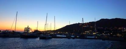 Coucher du soleil chez Mykonos Photographie stock libre de droits
