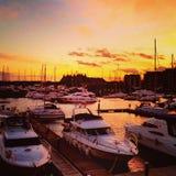 Coucher du soleil chez Neptune Quay Ipswich Image stock