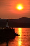Coucher du soleil chez Ogden Point Photo libre de droits