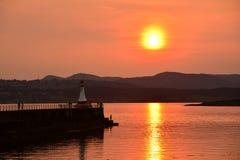 Coucher du soleil chez Ogden Point Photos stock