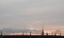Coucher du soleil chez Peter et Paul Fortress Photo stock