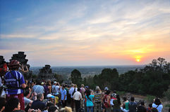 Coucher du soleil chez Phnom Bakheng, Angkor Images stock