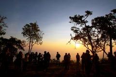 Coucher du soleil chez Phukradung Photographie stock libre de droits