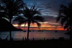 Coucher du soleil chez Racha Island Image stock