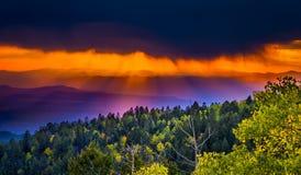 Coucher du soleil chez Santa Fe Ski Basin Photographie stock libre de droits