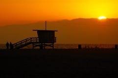 Coucher du soleil chez Santa Monica Photographie stock libre de droits