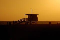 Coucher du soleil chez Santa Monica Images libres de droits