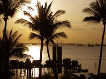 Coucher du soleil chez Sentosa photographie stock libre de droits