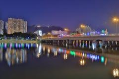 coucher du soleil chez Sha Tin Festive Lighting Photos libres de droits